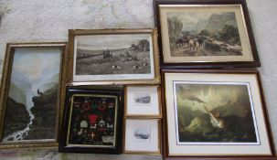 Various prints & tapestry dated 1883