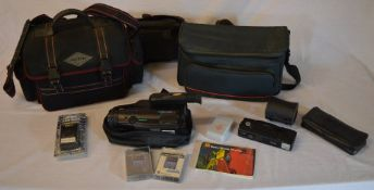 Samsung 8mm video camera, camera bags, tapes,