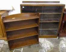 Glass fronted bookcase & one other
