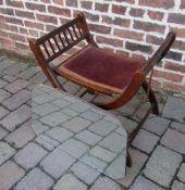 Victorian x-frame folding stool / seat & a bevelled edge mirror