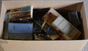 Large box of model railway scenery,