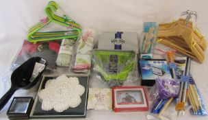 Assorted unused and unopened goods inc artist's wooden mannequin, knitting needles, gifts,