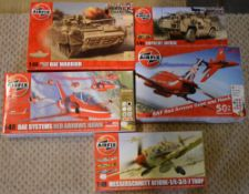Approx 5 Airfix 1:48 model kits including Bae Warrior,