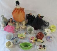 6 boudoir dolls, candle holders,