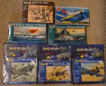 Approx 7 Revell & Airfix model kits including Royal Aircraft Factory S.E.
