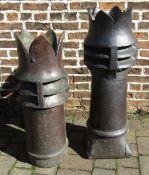2 similar salt glazed castellated chimney pots H 105 cm and 91 cm