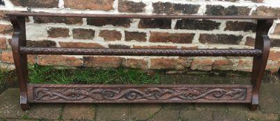 Carved oak plate rack L115cm