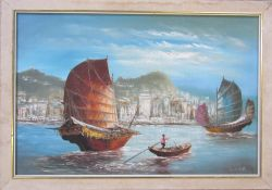 Oil on board painting of Hong Kong by L Lam 83.5 cm x 58.