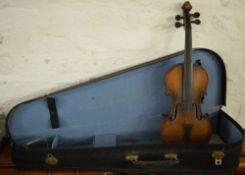 Cased violin with ebonised bridge with internal label,