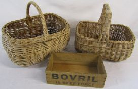 2 wicker shopping baskets & an early 20th century Bovril box
