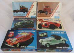 6 vintage boxed model car kits - Bandai Alfa Romeo 1931 8C 2300, Heller Humbrol Mercedes Benz 500K,