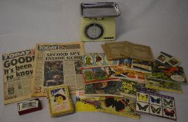 Picture cards including Brooke Bond and Wills in albums, Tower 10lb scale and the 'Today' newspaper,