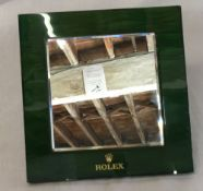 Rolex easel shop counter mirror with green leather back 25cm by 25cm