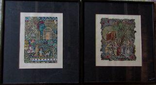 Pair of framed hand tinted lino/wood block prints 51.