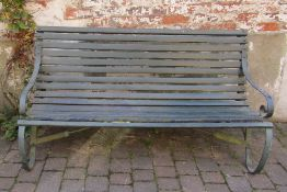 Victorian wrought iron & wood bench