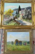 2 gilt framed oil paintings by M Fredo and Paul Haigh (Fredo painting has hole in canvas)