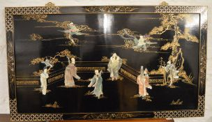 Oriental lacquered panel
