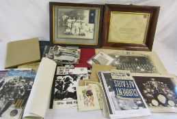 Box of military ephermera and framed photograph of HMS Hawkins crew etc
