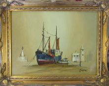 Framed oil painting of a fishing trawler by M Jefferies 50 cm x 39 cm (size including frame)