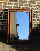 Large Jali style wood & iron wall mirror