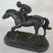 Bronze effect horse and jockey (repaired) L 27 cm