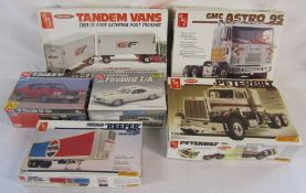 6 vintage boxed AMT model car kits - '70 Cheville SS 454, Reefer 40' trailer, GMC Astro 95,