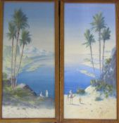 Pair of framed watercolours of Middle Eastern scenes by H Linton 28 cm x 56 cm (size including