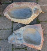 2 stone bird baths L 47 cm hand crafted in Zimbabwe