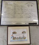 Framed sail plan of the Cutty Sark together with piece of wood reputedly from the ship & another