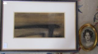 Framed charcoal drawing 'Lincolnshire' by David Paton 61 cm x 42 cm (size including frame) & a