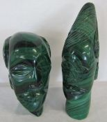 2 large carved Malachite African busts H 23 cm and 17 cm