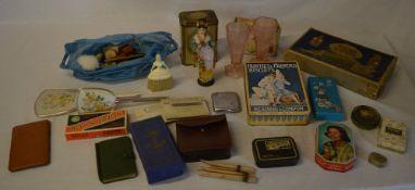 Vintage Huntley & Palmer tin, rolls razor, various old tins,