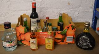Various alcoholic miniatures including The Famous Grouse, Ouzo,