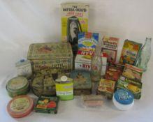 Various old tins,