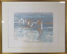 Limited edition screen print 15/25 'Bathers I' by Newlyn Society of Artists Mary Beresford Williams