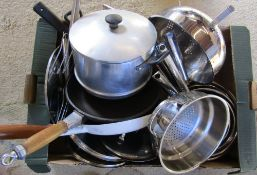 Various stainless steel saucepans and frying pans etc