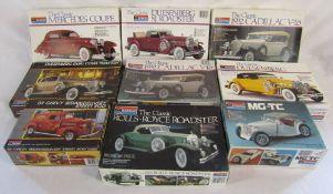 9 vintage boxed Monogram car kits - The classic Deusenberg 1934 Torpedo-Phaeton,