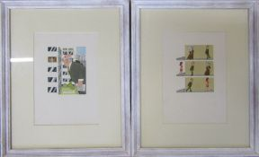 Pair of signed watercolour cartoon/illustrations 'Community Housing Project' and 'Prepare to meet