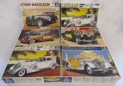 6 vintage boxed Italeri 1:24 car model kits - Bugatti 41 La Royale no 702, Cadillac Town Car no 707,