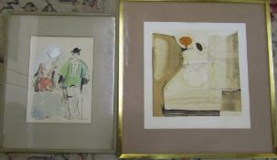 Framed figural watercolour & a framed abstract 70 cm x 72.