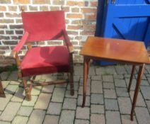 Edwardian side table & an oak arm chair