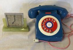 Small Art Deco onyx clock Ht 12cm & a red,
