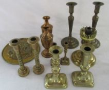 Assorted brass candlesticks etc (and a ladle not shown in picture)