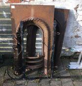 Wrought iron hanging sign bracket & 2 fireplace inserts