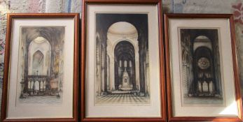 3 framed engravings of Cathedrals - Ely, Durham & St Pauls,