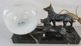 French Art Deco lamp with two Alsatians on a marble base