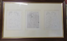 Set of 3 Pablo Picasso prints mainly nudes from the Vollard Suite Series published in 1956 84 cm x