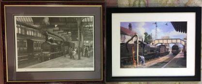 John S Gibb monochrome print 'FR 4-4-0 at Carnworth & one other railway print