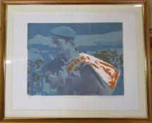 Limited edition screen print 4/40 'Radnor Farmer' by Newlyn Society of Artists Mary Beresford