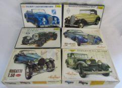 6 vintage boxed Heller model car kits - Bentley 4.